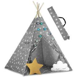 Namiot tipi dla dzieci ze światełkami kolor szary w gwiazdki + poduszki marki Ricokids