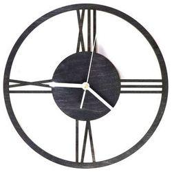 Drewniany zegar na ścianę Rzymskie cyfry z białymi wskazówkami, kolor czarny