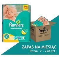 PAMPERS New Baby-Dry 2 MINI 228 szt (3-6 kg) - ZAPAS NA MIESIĄC - pieluchy jednorazowe