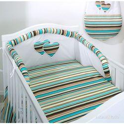 MAMO-TATO pościel 2-el Serduszka w paseczkach brązowych do łóżeczka 70x140cm z kategorii komplety pościeli dla dzieci