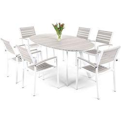 Meble ogrodowe HOME&GARDEN 211437 Lorenzo aluminiowe Biało-Szary z kategorii Zestawy ogrodowe