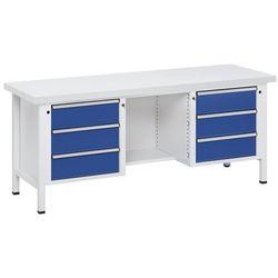 Anke werkbänke - anton kessel Stół warsztatowy, stabilny, 6 szuflad, ½ blatu, blat uniwersalny, częściowe wysu