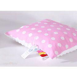 MAMO-TATO Poduszka Minky dwustronna 40x40 Grochy różowe / biały