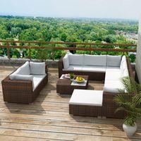 vidaXL Sofa ogrodowa Meble ogrodowe Zestaw 32 części brązowy rattan PE (8718475963325)