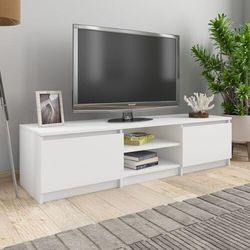 vidaXL Szafka pod TV, biała, 140x40x35,5 cm, płyta wiórowa