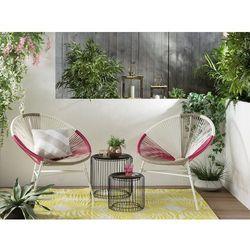 Beliani Krzesło rattanowe biało-beżowo-różowe ACAPULCO (4260624113708)