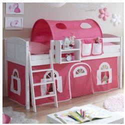 Ticaa kindermöbel Ticaa łóżko z drabinką eric, białe drewno sosnowe country dworek kolor różowo-biały