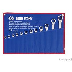 King tony Zestaw kluczy płasko-oczkowych z grzechotką jednokierunkową 12cz. 8 - 24mm 12112mrn