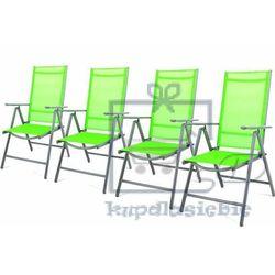 Komplet 4 krzesła aluminiowe Garth rozkładane ogrodowe zielone (4025379981794)