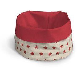 Dekoria Pojemnik na pieczywo, czerwone gwiazdki na lnianym tle, Ø20x12cm, Christmas