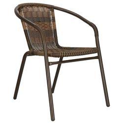 Krzesło ogrodowe metalowe, plecione krzesło na balkon brąz mix