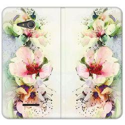 Flex Book Fantastic - Sony Xperia E4g - etui na telefon Flex Book Fantastic - róże herbaciane (Futerał tele