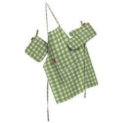 komplet kuchenny łapacz, rękawica oraz fartuch, zielono biała kratka (1,5x1,5cm), kpl, quadro od producenta Dekoria