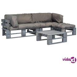 Vidaxl ogrodowe meble z palet, 4 szt., drewno fsc z szarymi poduszkami (8718475727989)
