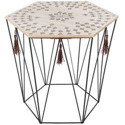 Atmosphera créateur d'intérieur Stolik kawowy o wymiarach 40x43 cm, zdobiony blat sześciokątny, ażurowa konstrukcja stelaża w kolorze czarnym, nowoczesny design