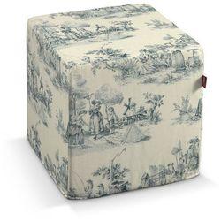 Dekoria Pufa kostka twarda, tło ecru, niebieskie postacie, 40x40x40 cm, Avinon
