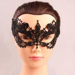 Sammydress Black lace hollow out half face masks