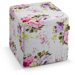 Dekoria  pufa kostka twarda, fioletowo-różowe kwiaty na białym tle, 40x40x40 cm, monet