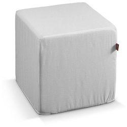 pufa kostka twarda, biały, 40x40x40 cm, linen marki Dekoria