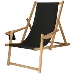 Leżak drewniany impregnowany z podłokietnikami i miejscem na napój czarny (5907719426235)