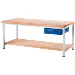 Rau Stół warsztatowy, stabilny, 1 szuflada w rozmiarze l, 1 blat z litego drewna buk
