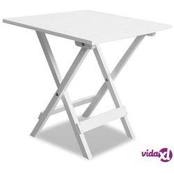 Vidaxl stolik ogrodowy z drewna akacjowego, biały