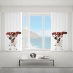 Zasłona okienna na wymiar - DOG WITH RED GLASSES ON