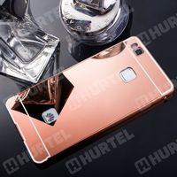 Aluminiowe etui lusterko Metal Mirror Bumper Huawei P9 Lite różowe - Różowy (7426775347554)