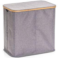 Pojemnik na pranie z płótna i bambusa, kosz na ubrania, pojemnik na bieliznę, duży kosz na pranie, kosz na pranie dwukomorowy, marki Zeller