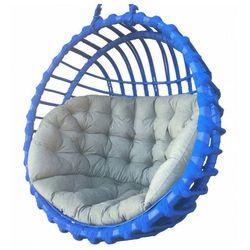 Niebieski kosz wiszący z szarym siedziskiem - Petro 2X, Kosz-wiszący-wiklinowy-okrągły