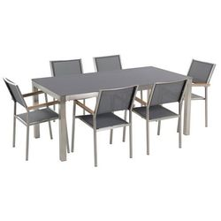 Zestaw ogrodowy szary ceramiczny blat 180 cm 6 szary krzeseł GROSSETO
