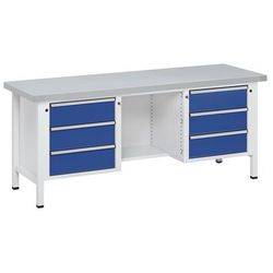 Stół warsztatowy, stabilny, 6 szuflad, ½ blatu, okładzina z blachy stalowej, peł