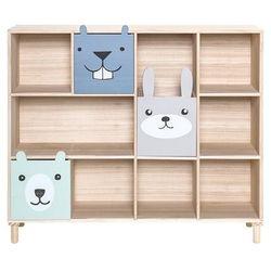 Regał na książki z szufladami, niebieski, pawłonia