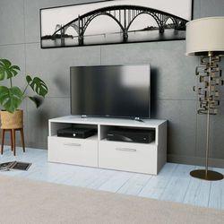 vidaXL Szafka pod TV z płyty wiórowej, 95 x 35 36 cm, biała (8718475583707)
