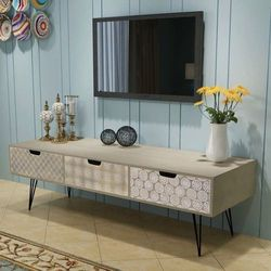 Vidaxl Szafka pod tv z 3 szufladami, 120x40x36 cm, szara
