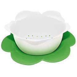 Durszlak z podstawką średni Zak! biało-zielony