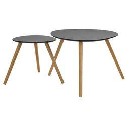 Atmosphera créateur d'intérieur 2 x okrągły stolik kawowy na trzech nogach, stolik do kawy, stolik do salonu, stolik do pokoju, czarny stolik, stolik drewniany