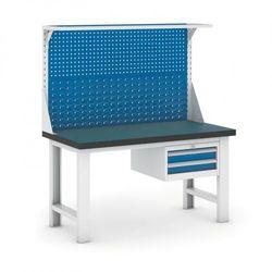 Stół warsztatowy GB z panelem i kontenerem szufladowym, 1500 mm