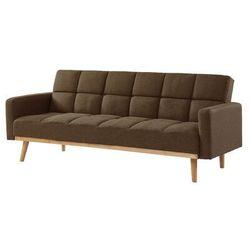 Sofa rozkładana klik-klak z tkaniny GALATE - Kolor brązowy, kolor brązowy