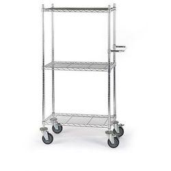 Wózek stołowy z kratą drucianą, z półkami, dł. x szer. x wys. 760x460x1350 mm, 3 marki Seco