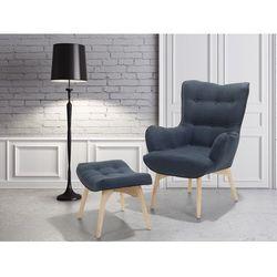 Beliani Fotel ciemnoniebieski + pufa - fotel tapicerowany - krzesło - vejle (7081451013101)