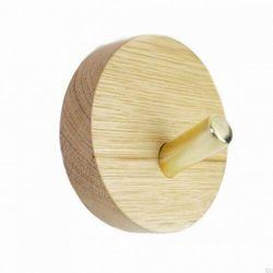 Wieszak ścienny nori okrągły dębowy naturalny z mosiężnym marki Skandynawskie uchwyty