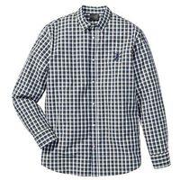 Koszula z długim rękawem Regular Fit bonprix niebiesko-oliwkowo-biały w kratę