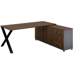 Biurowy stół roboczy alfa x z szafką po prawej, blat 1800 x 800 mm, wzór orzech marki B2b partner