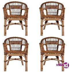Vidaxl krzesła ogrodowe, 4 szt., naturalny rattan, brązowe