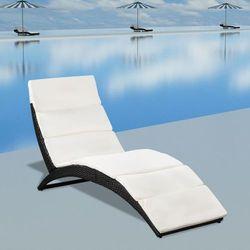 Leżak ogrodowy składany, z poduszką, polirattan, czarny marki Vidaxl