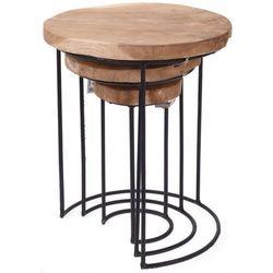 Home styling collection 3x stolik z naturalnego drewna tekowego - okrągły, kawowy, designerski