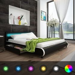 Vidaxl łóżko czarna eko skóra z szufladami i pasem led 180 cm (8718475948094)
