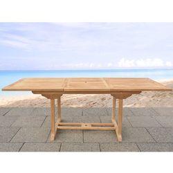 Beliani Stół ogrodowy drewniany 160/220 x 90 cm rozkładany