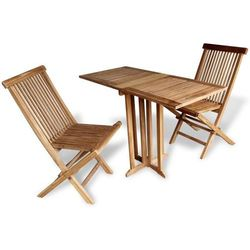 vidaXL Stół i dwa krzesła z drewna tekowego Zestaw balkonowy 3 elementy